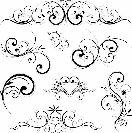 Swirling flourishes decorative floral elements Stock Photo - Budget Royalty-Free & Subscription, Code: 400-06101040