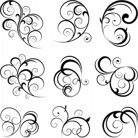 Swirling flourishes decorative floral elements Stock Photo - Budget Royalty-Free & Subscription, Code: 400-06101043