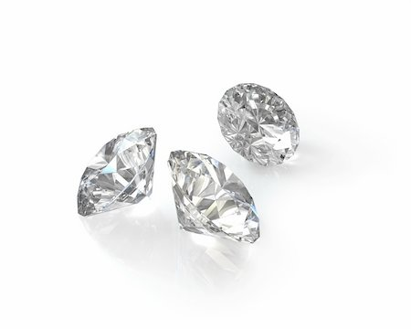 Three round, old european cut diamonds, isolated on white background Stock Photo - Budget Royalty-Free & Subscription, Code: 400-06101085