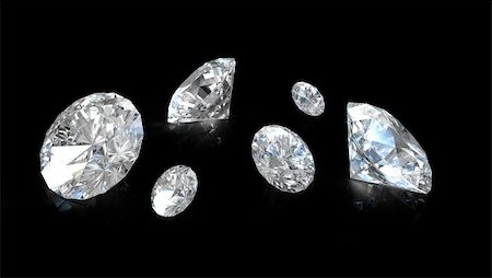 Few old european round cut diamonds, on black background Stock Photo - Budget Royalty-Free & Subscription, Code: 400-06101087