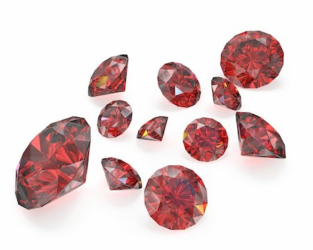 Few round cut rubies, isolated on white background Stock Photo - Budget Royalty-Free & Subscription, Code: 400-06101083