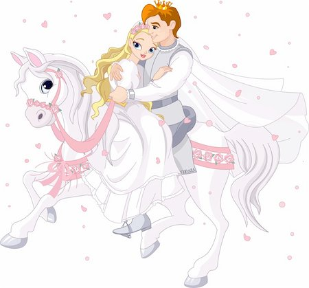 decoration wedding rose vintage - Royalty bride and groom on white horse Stock Photo - Budget Royalty-Free & Subscription, Code: 400-06101232