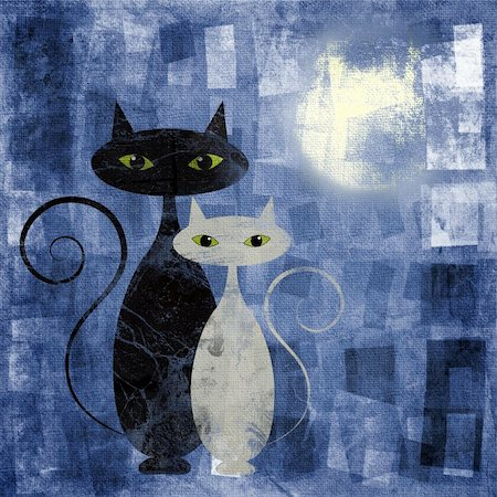 Black and white cat on blue grunge canvas Stock Photo - Budget Royalty-Free & Subscription, Code: 400-06101358
