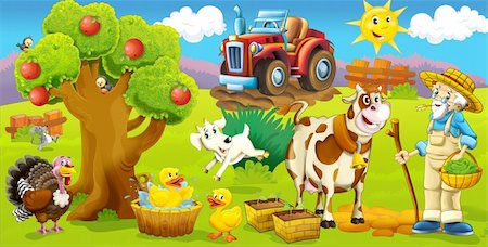 Cartoon style drawn farm Stock Photo - Budget Royalty-Free & Subscription, Code: 400-06101474