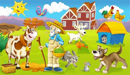 Cartoon style drawn farm Stock Photo - Budget Royalty-Free & Subscription, Code: 400-06101473