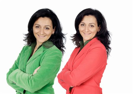 Brunette executive twin isolated on a over a white background Stock Photo - Budget Royalty-Free & Subscription, Code: 400-06101793