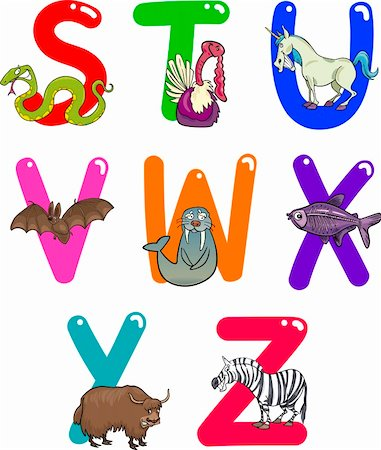 Cartoon Colorful Alphabet Set with Funny Animals Stock Photo - Budget Royalty-Free & Subscription, Code: 400-06101863