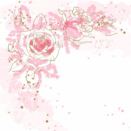 Abstract romantic vector background with three pink roses. Stock Photo - Budget Royalty-Free & Subscription, Code: 400-06101927