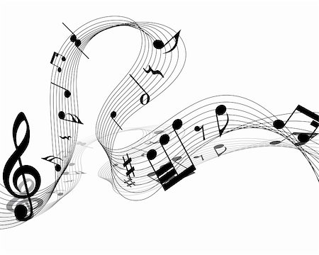 Vector musical notes staff background for design use Stock Photo - Budget Royalty-Free & Subscription, Code: 400-06102295