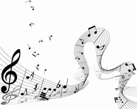 Vector musical notes staff background for design use Stock Photo - Budget Royalty-Free & Subscription, Code: 400-06102296