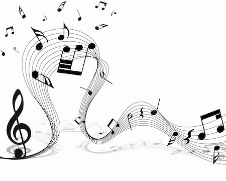 Vector musical notes staff background for design use Stock Photo - Budget Royalty-Free & Subscription, Code: 400-06102297