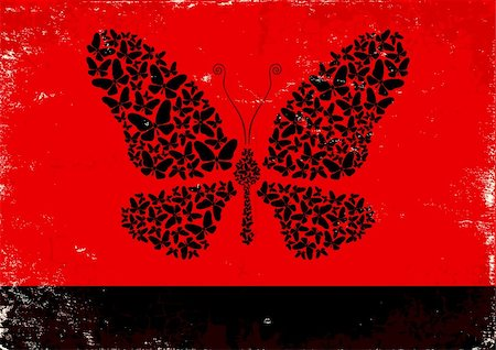 Red and black poster with black butterflies Stock Photo - Budget Royalty-Free & Subscription, Code: 400-06102845