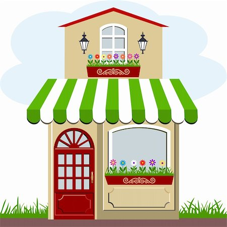 elakwasniewski (artist) - Vector illustration of little cute retro house and store, shop or boutique with green awning Stock Photo - Budget Royalty-Free & Subscription, Code: 400-06102905