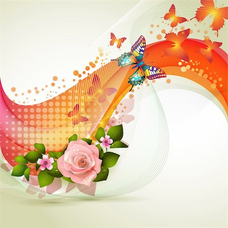 Colorful background with flowers Stock Photo - Budget Royalty-Free & Subscription, Code: 400-06103276