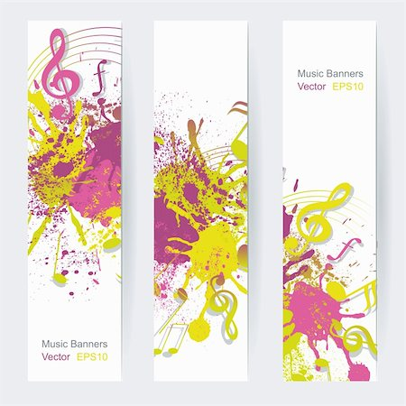 Music notes banner design, vector illustration Stock Photo - Budget Royalty-Free & Subscription, Code: 400-06103296