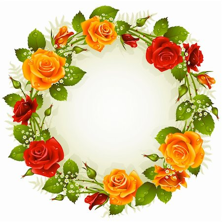 Vector red and yellow rose frame in the shape of circle Stock Photo - Budget Royalty-Free & Subscription, Code: 400-06103938