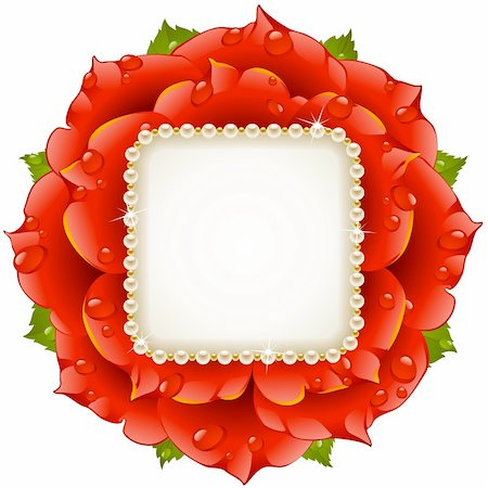 Vector floral background. Red rose wedding frame with pearl necklace. Stock Photo - Budget Royalty-Free & Subscription, Code: 400-06103943