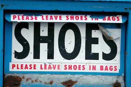 A shoe bank for the deposition of old shoes to be distributed to third world countries. Stock Photo - Budget Royalty-Free & Subscription, Code: 400-06127375