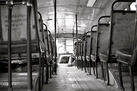 An empty Delhi Transportation Bus as it gears up for a busy day on the streets of New Delhi, India. The DTC buses are the back bone of the city. Stock Photo - Budget Royalty-Free & Subscription, Code: 400-06129191