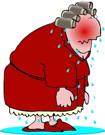 sweaty woman - This illustration depicts an older woman having a hotflash. Stock Photo - Budget Royalty-Free & Subscription, Code: 400-06129920