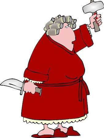 sweaty woman - This illustration depicts a woman in a bathrobe and curlers holding a knife and a sledge hammer. Stock Photo - Budget Royalty-Free & Subscription, Code: 400-06129921