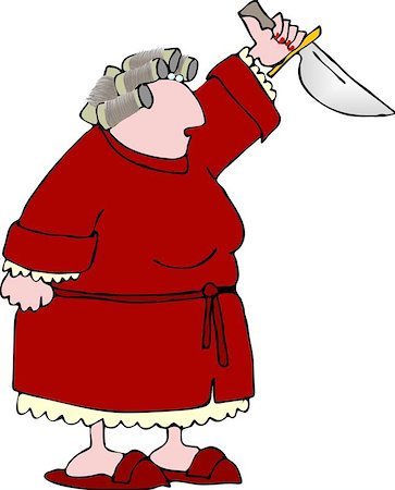 sweaty woman - This illustration depicts a woman in a bathrobe and curlers holding up a large knife. Stock Photo - Budget Royalty-Free & Subscription, Code: 400-06129923