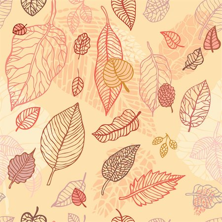 plant leaf paintings graphic - Autumn falling leaves background.  Seamless  vector pattern Stock Photo - Budget Royalty-Free & Subscription, Code: 400-06135915