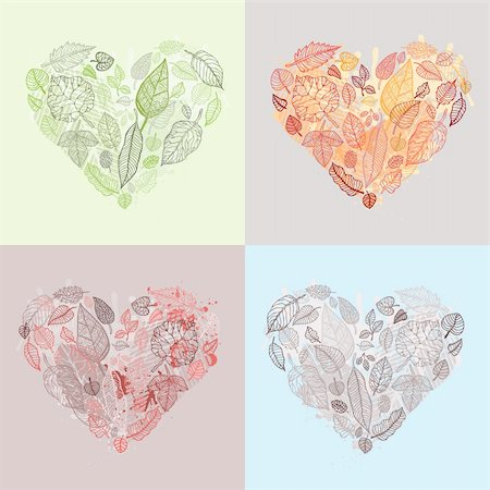 plant leaf paintings graphic - Heart Design elements.  Set Leaves Vector Background. Stock Photo - Budget Royalty-Free & Subscription, Code: 400-06136127