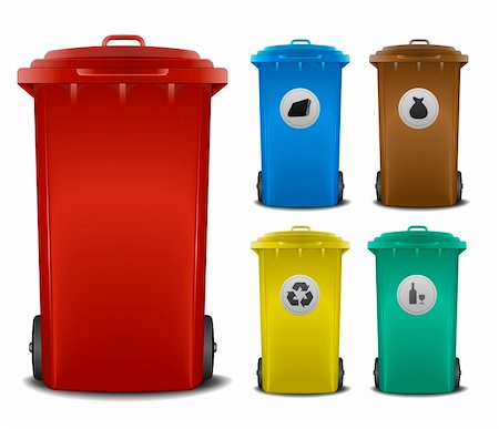 illustration recycling bins with different colors and symbols Stock Photo - Budget Royalty-Free & Subscription, Code: 400-06136226