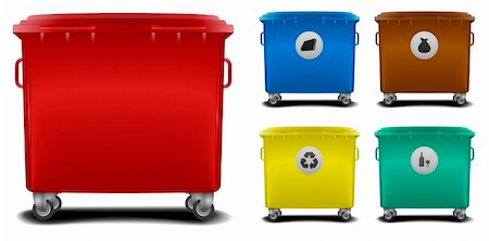 illustration recycling bins with different colors and symbols Stock Photo - Budget Royalty-Free & Subscription, Code: 400-06136227