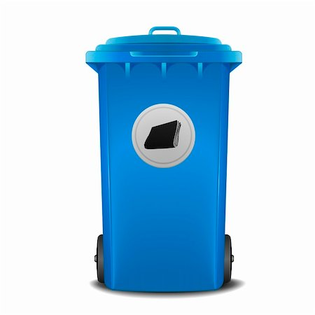 illustration of a blue recycling bin with paper symbol Stock Photo - Budget Royalty-Free & Subscription, Code: 400-06136228