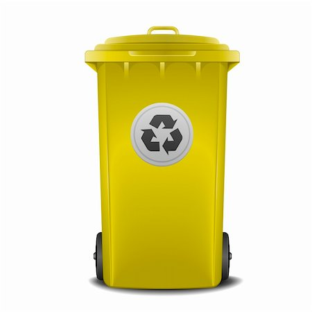 illustration of a yellow recycling bin Stock Photo - Budget Royalty-Free & Subscription, Code: 400-06136234