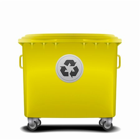 illustration of a yellow recycling bin Stock Photo - Budget Royalty-Free & Subscription, Code: 400-06136235