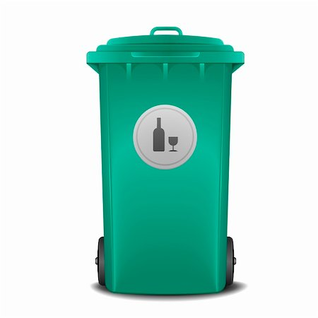illustration of a green recycling bin with glass symbol Stock Photo - Budget Royalty-Free & Subscription, Code: 400-06136232