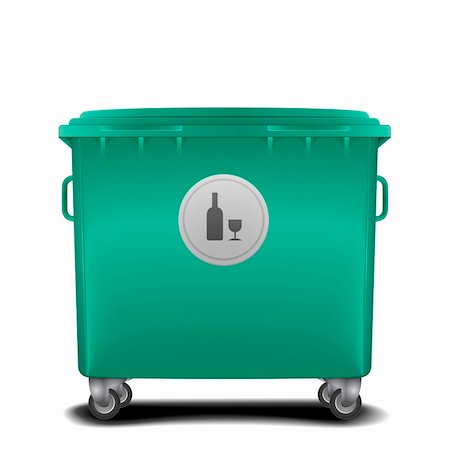 illustration of a green recycling bin with glass symbol Stock Photo - Budget Royalty-Free & Subscription, Code: 400-06136233