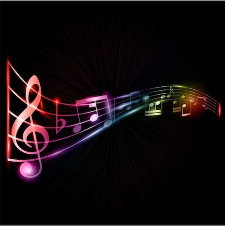 Abstract music notes background with a neon style effect Stock Photo - Budget Royalty-Free & Subscription, Code: 400-06136333