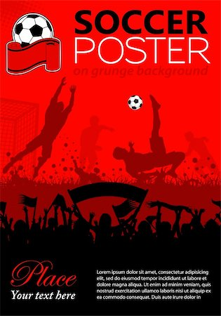 Soccer Poster with Players and Fans on grunge background, element for design, vector illustration Stock Photo - Budget Royalty-Free & Subscription, Code: 400-06136363