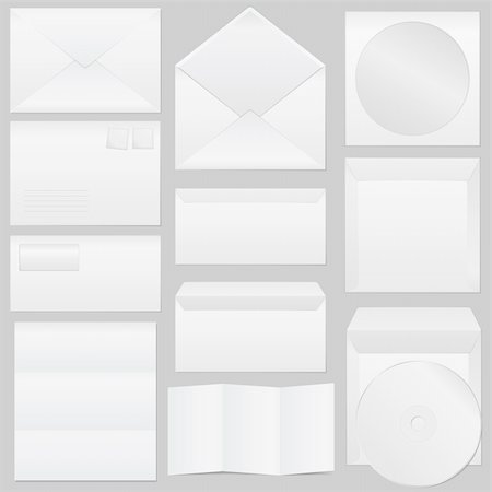 Set of paper envelopes, vector eps10 illustration Stock Photo - Budget Royalty-Free & Subscription, Code: 400-06136392