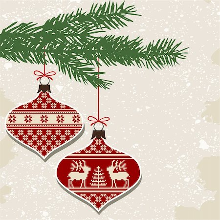 elakwasniewski (artist) - Christmas balls with nordic cross stitch ornament and green branch, vector illustration Stock Photo - Budget Royalty-Free & Subscription, Code: 400-06136460