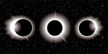 solar eclipse illustration in three stages Stock Photo - Budget Royalty-Free & Subscription, Code: 400-06136489