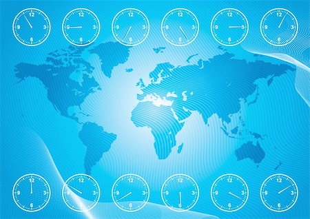 World map and region time. Stock Photo - Budget Royalty-Free & Subscription, Code: 400-06136591