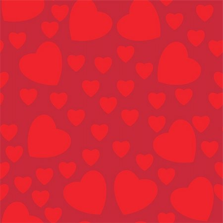 simsearch:400-04597082,k - Seamless texture of hearts. Illustration on red background Stock Photo - Budget Royalty-Free & Subscription, Code: 400-06136955