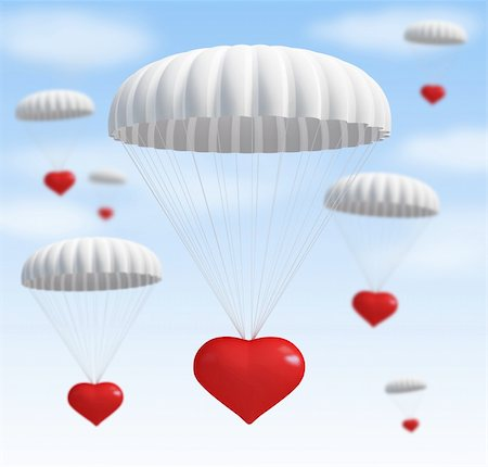 fly heart - heart at  parachute on a sky with clouds Stock Photo - Budget Royalty-Free & Subscription, Code: 400-06137375
