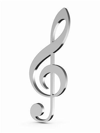 3d render of music key on white background Stock Photo - Budget Royalty-Free & Subscription, Code: 400-06137780