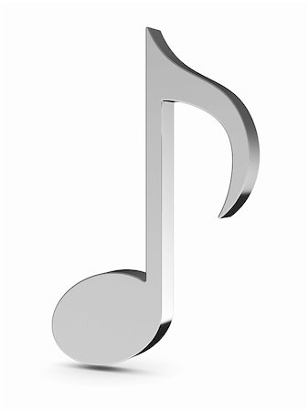 3d render of music note isolated on white background Stock Photo - Budget Royalty-Free & Subscription, Code: 400-06137781