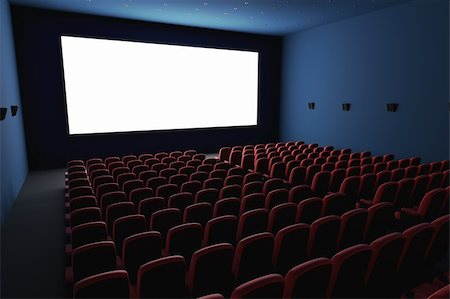 Inside of the cinema. Several empty seats waiting the movie on the white screen. Your text or picture on the white screen. Stock Photo - Budget Royalty-Free & Subscription, Code: 400-06137878