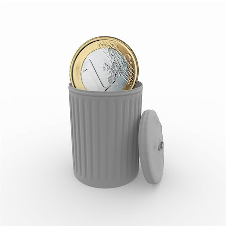 euro coin in a grey trash can Stock Photo - Budget Royalty-Free & Subscription, Code: 400-06138078