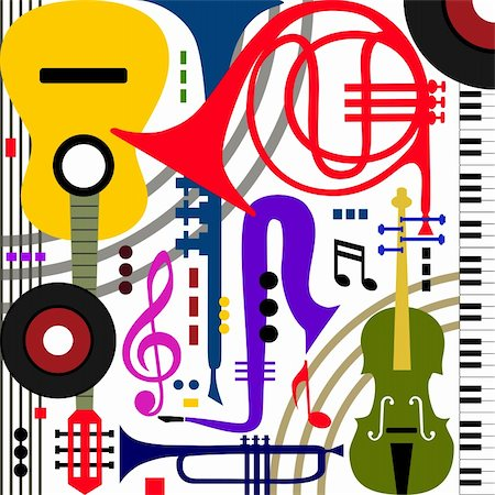 elakwasniewski (artist) - Abstract colored music instruments on white, full scalable vector graphic, change the colors as you like Stock Photo - Budget Royalty-Free & Subscription, Code: 400-06139585