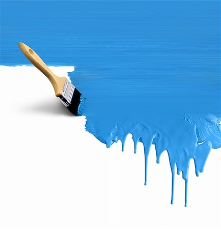 spot paint - Brush painting vertical dripping blue paint on white background Stock Photo - Budget Royalty-Free & Subscription, Code: 400-06139801