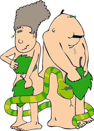 snake skin - This illustration depicts Adam & Eve with a snake. Stock Photo - Budget Royalty-Free & Subscription, Code: 400-06132802